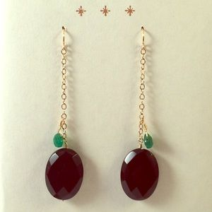 Black & Green Onyx Gold Dangle Earrings